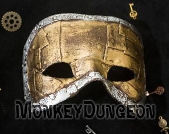 Metal patchwork look steampunk mask mardi gras industrial Halloween haunted house