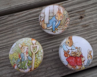 "Peter Rabbit   Print  2"" Dresser Drawer  Cabinet Knob"