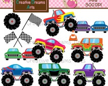 40% Off! Monsters Trucks Digital Clip Art Instant Download