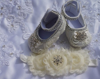 Ivory baby shoes, Ivory and gold,  Baby Girl Ivory Satin Rosette Crib Shoes ,Baby Shoes and headband,Christening shoes, Baptism shoes