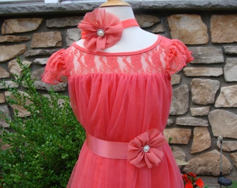 Coral lace dress, coral dress, Coral flower girl,Lace coral baby dress,girls dress,flower coral dress,coral lace dress,coral toddler dress