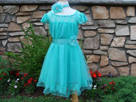 Teal flower dress wedding dress birthday holiday by amazingems