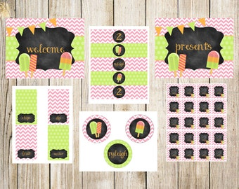 Pink, Lime and Orange Popsicle Party Package