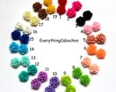 100pcs Mixed Color Rose Flower Resin Cabochon, 10x4mm