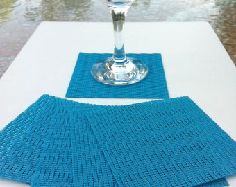 Set of Six Woven Vinyl Coasters in Bright Blue