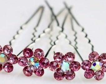 Set Of 2 Pink Rhinestone Hairpins - Bridal Accessories