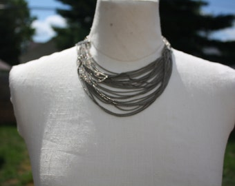 Vintage layered silver chains necklace