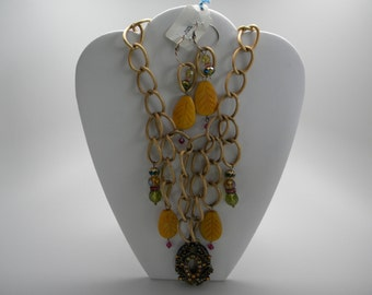 """S1204-""""Falling Leaves"""" Necklace & Earring Set"""