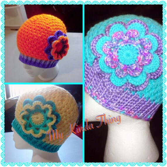 cool crochet hat with large crochet flower