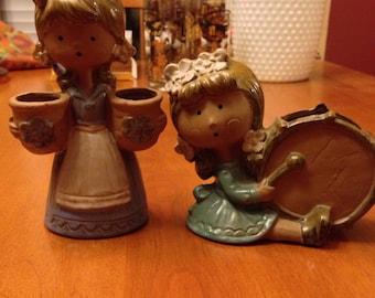 Two Cute Seventies Earthenware Little Ladies