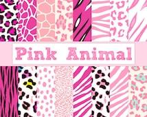 Digital Paper, Pink Animal Print, Zebra Print, Leopard Print, Tiger Stripes, Cheetah Spots, Giraffe Print, for Baby Girl - Instant Download