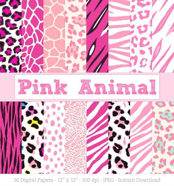 Digital Paper Pink Animal Print Zebra Print Leopard Print