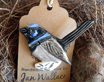 Ceramic Bird Brooch - Australian Fairy Wren Handmade Handpainted