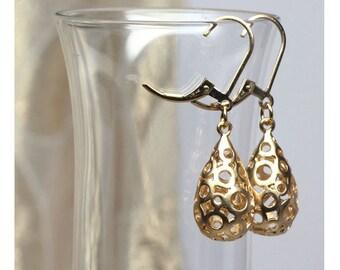 Gold Teardrop Earrings, Metal Earrings, Abstract, Elegant, Gold Earrings, Dangle, Drop Earrings, Small Earrings
