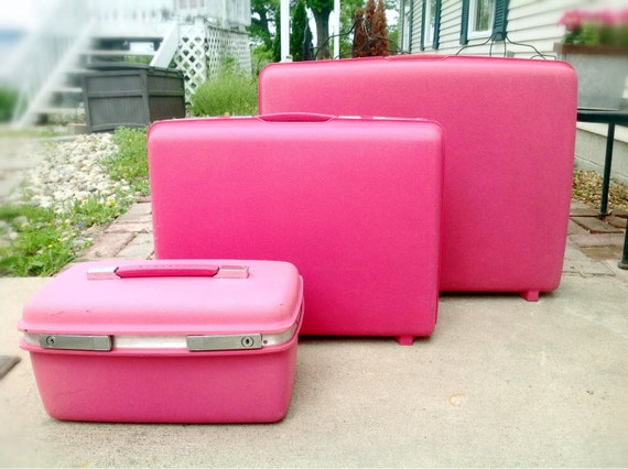 Vintage Samsonite Pink Luggage Set
