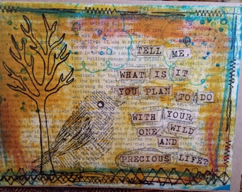 Mary Oliver Quote on Bird Art Card