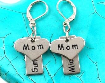 "Hand Stamped Earrings, Stainless Steel, Hypoallergenic Custom Earrings ""Mom"" E1389"