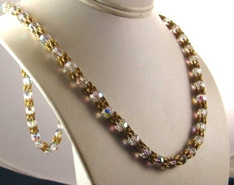 Vintage 1920's- 40's Flapper style  Necklace w/ Brushed Gold, AB Glass Swarovski ,Austrian Crystals - E2142