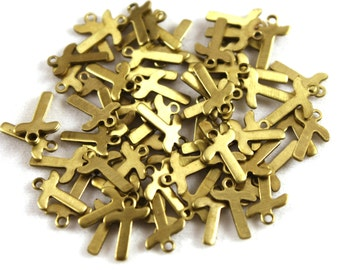 """5x Letter """"T"""" Brass Initial Charms - M071-T"""