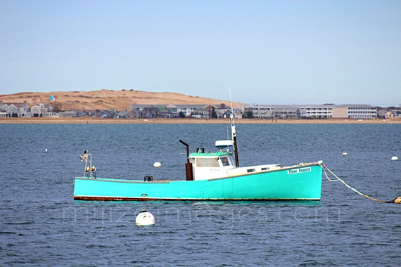 Items similar to aqua fishing boat anchored at for Cape cod fishing party boats
