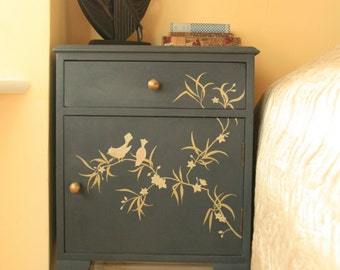 Original hand painted cabinet with bird and bamboo design