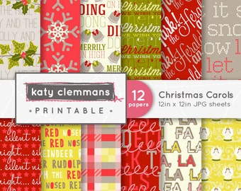 CHRISTMAS CAROLS digital paper pack. Christmas song typographic themed patterns. Scrapbook printable sheets - instant download.