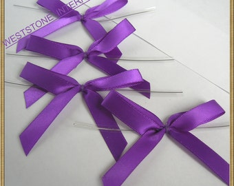 25 Solid purple Satin Pre-Tied Ribbon Bow for cello bag in wedding and Party