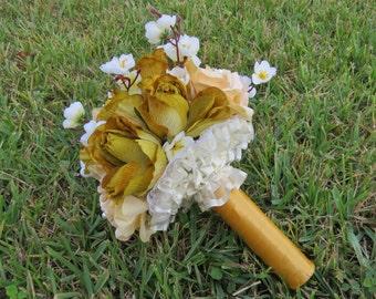 Autumn Wedding, Vintage Wedding, Rustic Wedding Bouquet, Peach and Gold, Antique Gold Bouquet