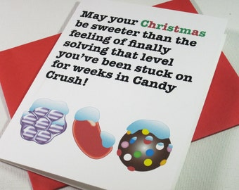 Instant Printable Digital Download Candy Crush Christmas Card