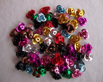 60 - aluminum rose beads, mix colors