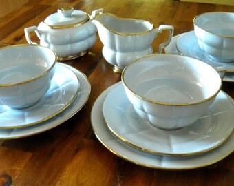 "1940's Gefle Sweden 12-Piece ""Coffee/Tea for 3"" Set--VERY Rare ""Grand"" Pattern--Arthur Percy Design--Robin's Egg Blue with Gold Gilt Edging"