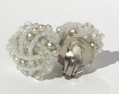 Vintage Clips/Pearl Beaded Clips/ Knotted Round Clips/Retro Clips/Cluster Earrings/Pearl Knot Clips