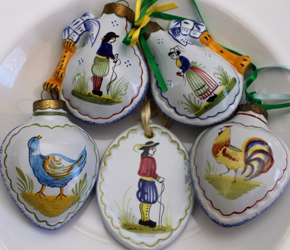 Lot Of 5 Authentic Henriot Quimper Pottery Christmas