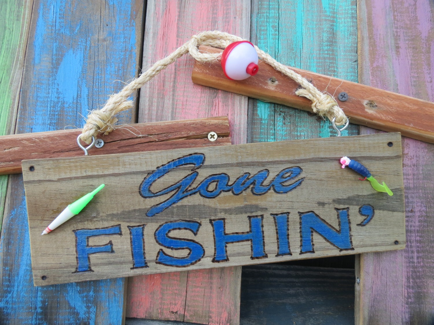 Gone fishing sign with bobber and fishing lure handmade for Gone fishing sign