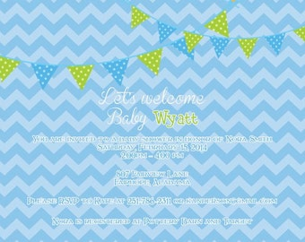 Blue Chevron with Pennants/Bunting Boy Baby Shower Invitation