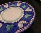 Vintage Chicken Platter Italian Pottery Solimene Vietri CAMPAGNA Blue Pollo