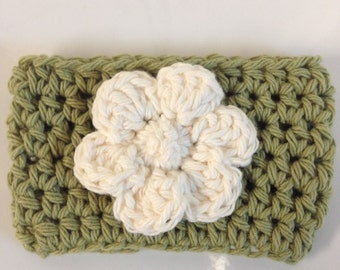 Handmade Crocheted Coffee Cup Mug Cozy Sleeve with Flower