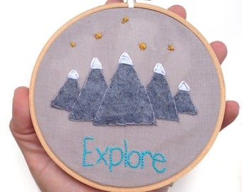 Explore Mountains and Stars Embroidery Hoop Wall Art