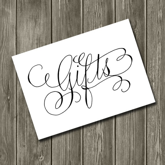 Gifts table sign handwritten calligraphy wedding printable
