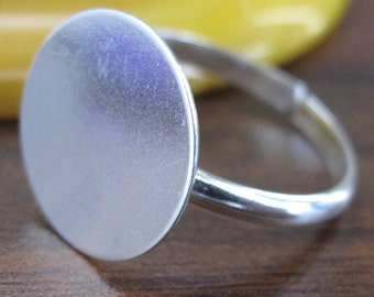 Sterling Silver base ring with plate (many sizes) (1pc)