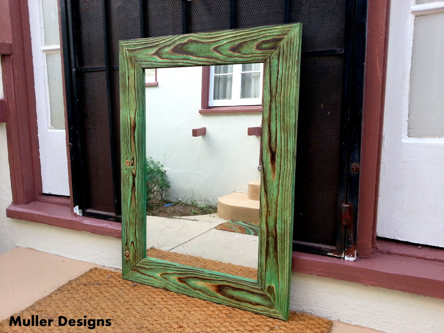 wood mirror green bronze mirror bathroom by mullerdesignss 17528