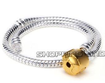 EU Charm Bracelet Snake silver Chain Gold Clasp Fit European Charm Beads Free Shipping Worldwide Choose SIZE