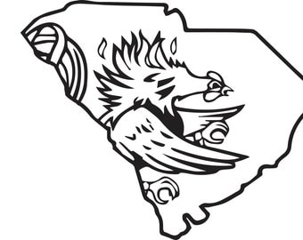Usc gamecocks state decal for South carolina coloring pages