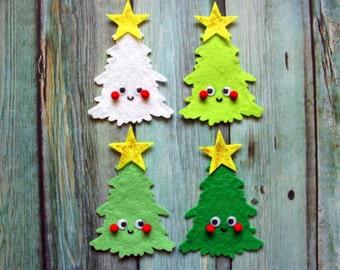 Scrapbook Embellishment - 1 CHRISTMAS TREE CUTIE - Cartoon Cuties, Felt Scrapbooking Embellishment, Christmas Scrapbook, Felt Christmas Tree