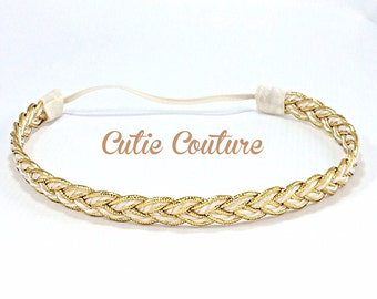Gold and Cream Braided Headband, Gold Baby Headband, Gold Adult Headband, Boho Headband, Gold Headband, Halo Headband, gold braided headband