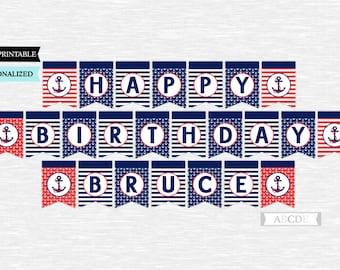 PRINTABLE nautical happy birthday banner Instant