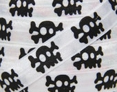 White and Black Skull Fold Over Elastic - Elastic for Baby Headbands and Hair Ties - 5 Yards 5/8 inch Printed FOE