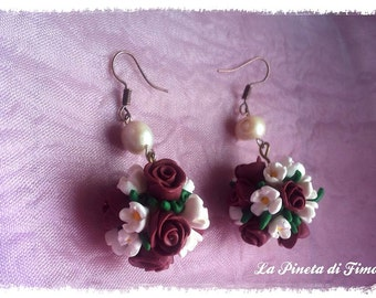 Little flowers bouquet earrings handmade - CHOOSE YOUR COLOUR, i did it for you