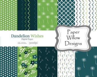 Dandelion Wishes-(10)-12x12 Digital Papers-300dpi-Instant Download-Floral-Chevron-Latice-Turquoise-Lime Green-Pattern