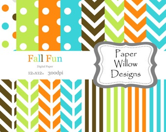 Fall Fun-(16)-12x12 Digital Papers-300dpi-Instant Download-Colorful-Turquoise-Orange-Green-Chevron-Stripe-Polka Dots